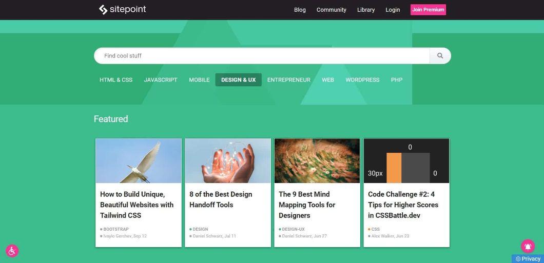 SitePoint - blog de webdesign