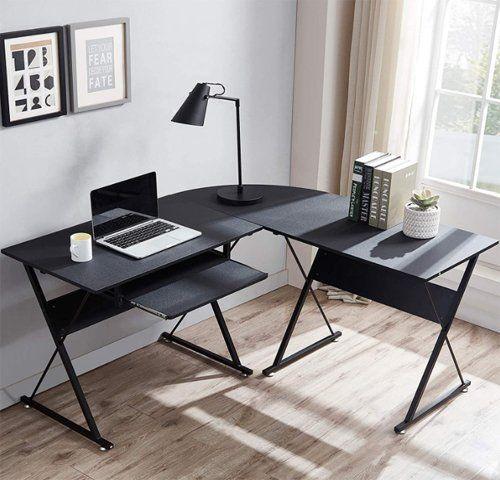 Computer desk with keyboard tray - Flash Furniture Black Glass L-Shape Corner Computer Desk with Pull-Out Keyboard Tray