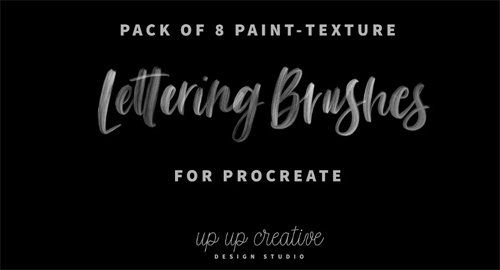 Eight Custom Paint-Brush-Style Procreate Lettering Brushes