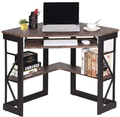 Computer desk with keyboard tray - VECELO Keyboard, Corner Computer Writing Shelves