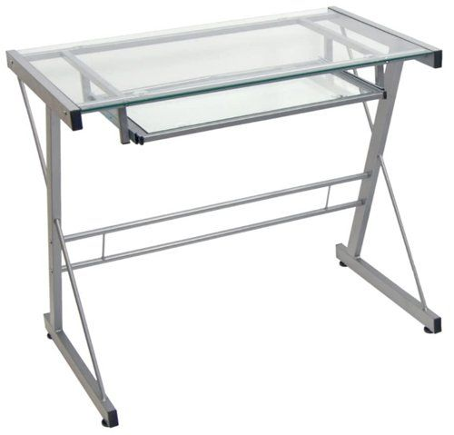 small computer desk with keyboard tray -Walker Edison Modern Metal and Glass Laptop Computer Desk