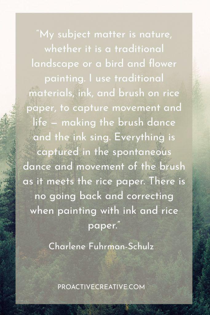 Artist statement example Charlene Fuhrman-Schulz