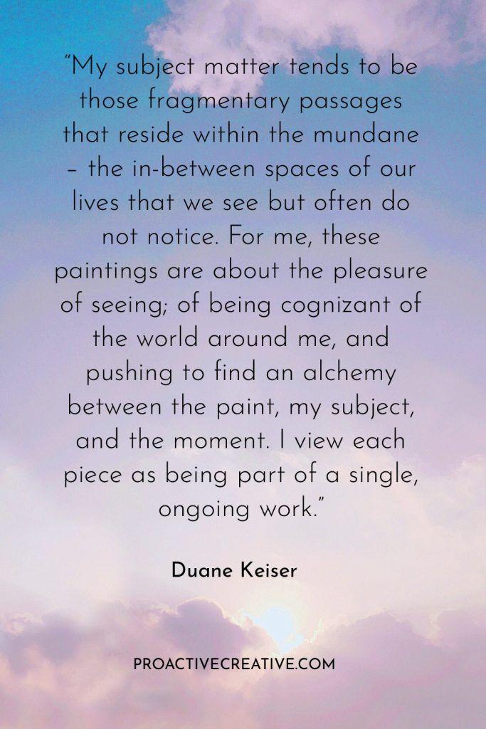 Artist statement example Duane Keiser