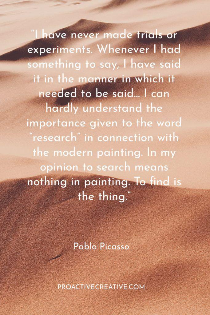 Artist statement example Pablo Picasso