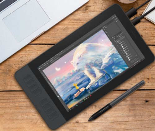 GAOMON PD1161 11.6 Inches Tilt Support Drawing Pen Display - connected with computer and photoshop