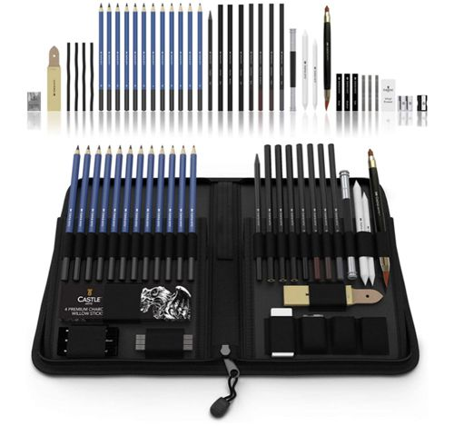 Castle Art Supplies Graphite Drawing Pencils and Sketch Set, Best Premium Sketching Supply Set with Case