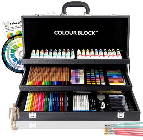 COLOR BLOCK Ensemble d'art de techniques mixtes de 181 pièces, Meilleur kit de fournitures pour la peinture d'art pour la variété