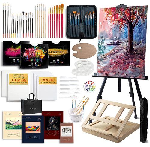 Modera Kit de 121 pièces pour peinture avec chevalets, Meilleur kit de peinture artistique tout-en-un