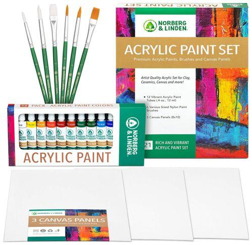 Best Acrylic Canvas and Paint Set, Norberg & Linden Acrylic Paint Set
