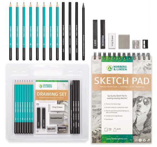 Norberg & Linden Drawing Set, Best Small Art Kit with Sketchpad
