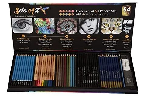Sela Art-54 Pcs professional Art Pencil Set, Best Art Kit for Students and Aspiring Artists