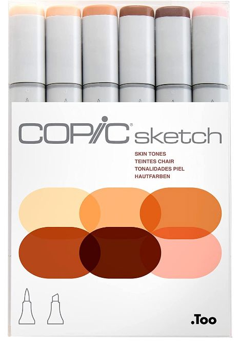 Copic Markers 6-Piece Sketch Set, Skin Tones. Best Skin Tone Markers