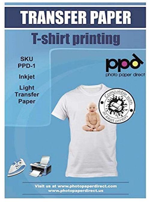 PPD Inkjet PREMIUM Iron-On White and Light-Colored T-Shirt Transfers Paper, runner up inkjet transfer paper