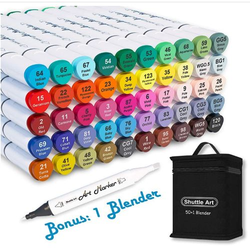 Shuttle Art 51 Colors Dual Tip Alcohol Based Art Markers. Best Budget Coloring Markers