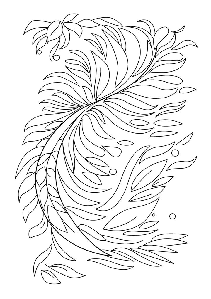 Free abstract coloring plant drawing