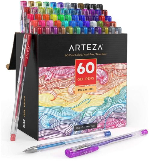 Best Budget Colored Gel Pen Set, Arteza 60-Piece Gel Pens Set